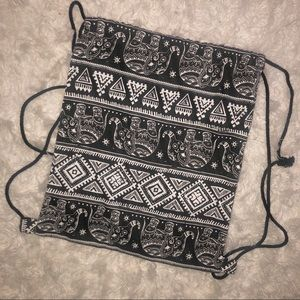 Bags - Boho Elephant Design Drawstring Backpack Bag